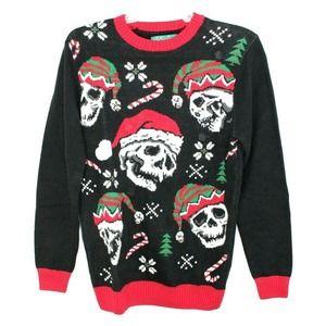 Christmas Sweater Skulls Santa Light Up Bells